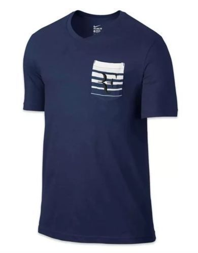 Nike Court Roger Federer RF Pocket Crew Tennis Shirt Mens M Navy 739477 410