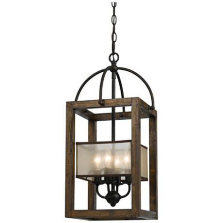 "Harper Wood 12"" Wide Iron Pendant Chandelier - #3F525   LampsPlus.com"