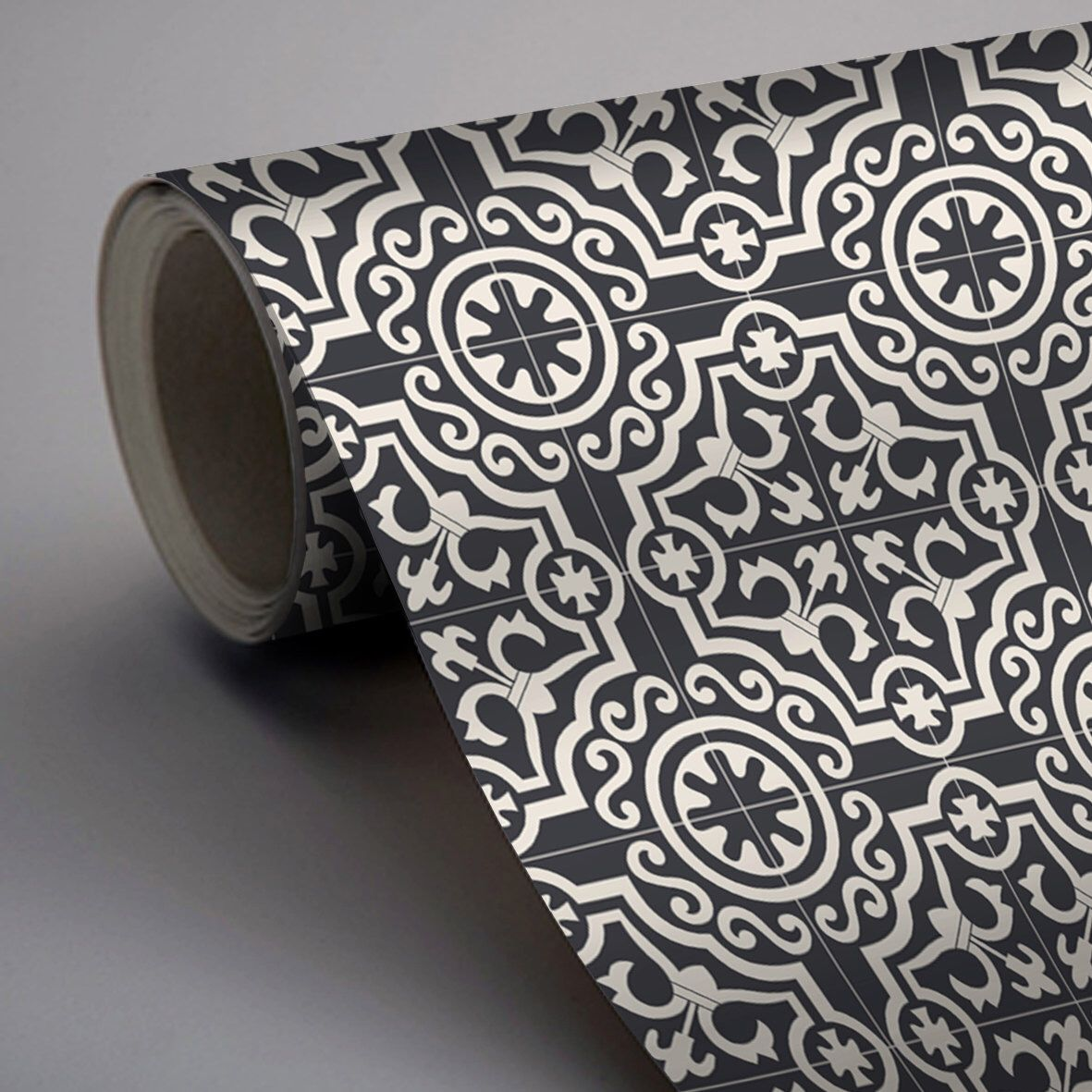 Moroccan Lys Wallpaper In Black Removable Vinyl Wallpaper Etsy Vinyl Wallpaper Patchwork Tiles Wallpaper
