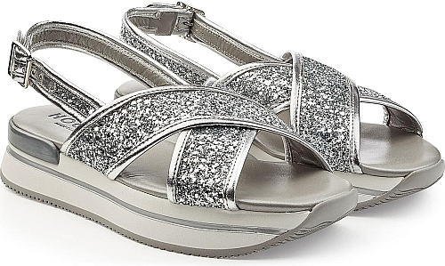 bd18b0dfc34 Hogan Women s Shoes in Silver Color. Styled with silver glitter ...