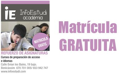 Si necesitas un refuerzo no lo dudes, en InfoEstudi Academia ¡Regalamos la matrícula!  http://www.castellom.com/ver_entrada/23.html