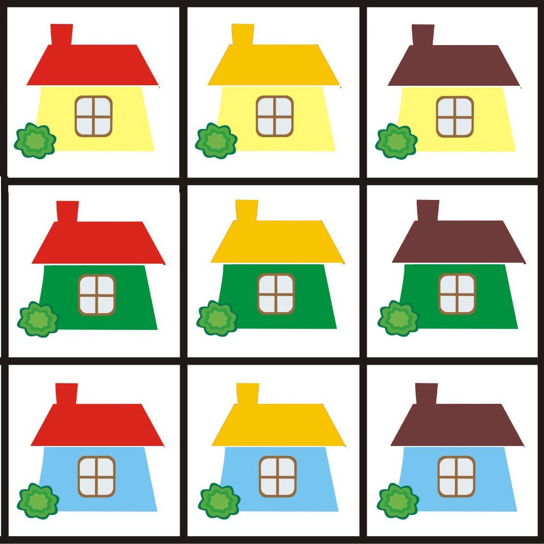 Matrix 3 thema huizen voor kleuters, free printable | Thema