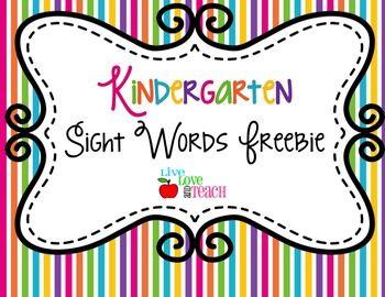 Kindergarten Sight Words FREEBIE Summer Pop Collection | Live Love