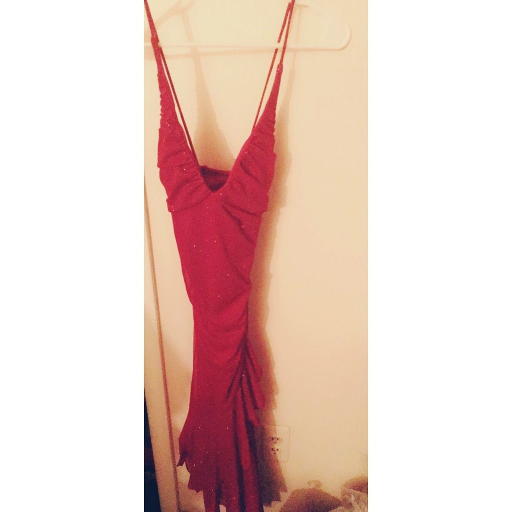 Sparkly spaghetti strap red long dress products