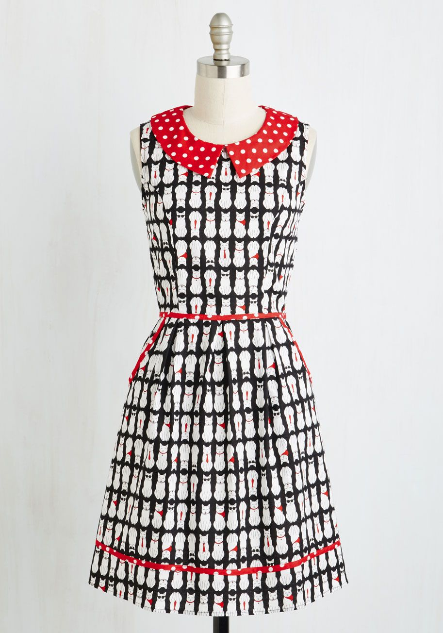 All Eyes on Unique Dress in Cool Cats. Your quirky ensembles always earn you attention, and this black A-line continues your tradition of extraordinary style! #multi #modcloth