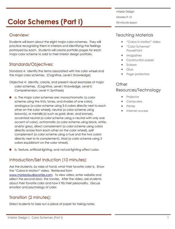 Color Schemes Part 2 Lesson Plan Housing Interior Design Lesson