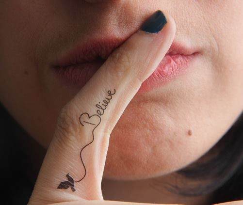 Pin By Dana Dafer On Tat S Cute Finger Tattoos Believe Tattoos Small Finger Tattoos