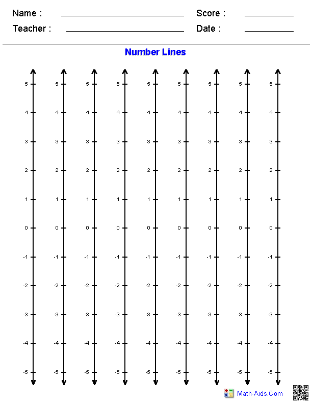 Vertical Number Lines Graphing Paper Math Aids Com