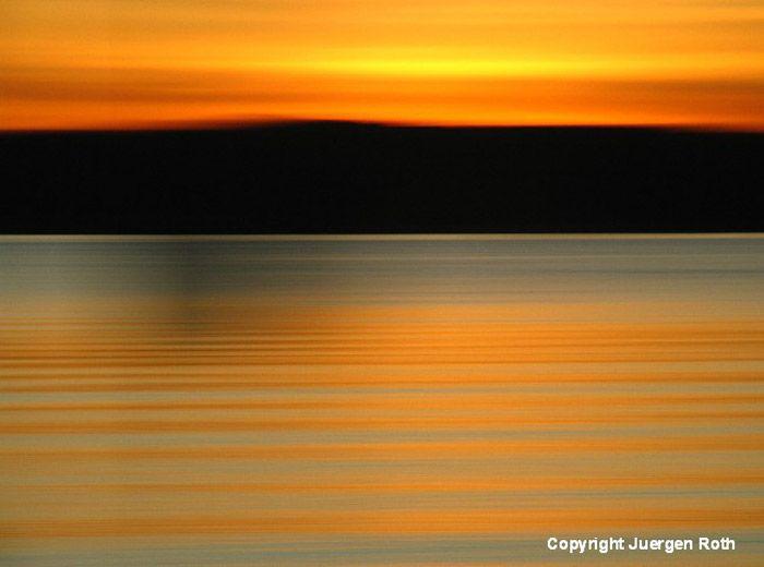 Horizontal Line Art : Intentional horizontal camera movement image of seascape at