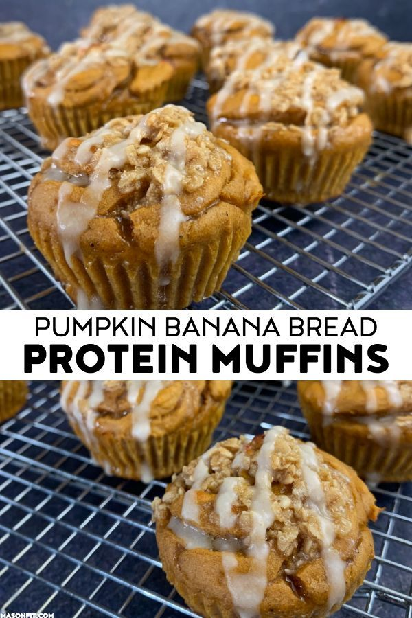 Pumpkin Banana Bread Protein Muffins with Candied