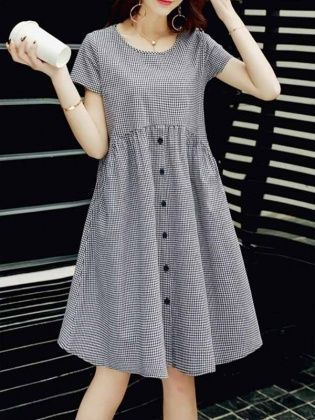Loose Cou Rond Manches Courtes A Carreaux Coton Simple Carreaux Coton Courtes Loose Vestidos Casuales Para Senoras Ropa De Moda Vestidos Verano Mujer