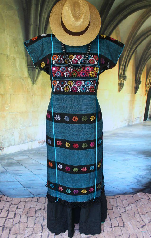 Elegant Black & Blue Amuzgo Huipil Hand woven Mexico Frida Hippie Santa Fe…