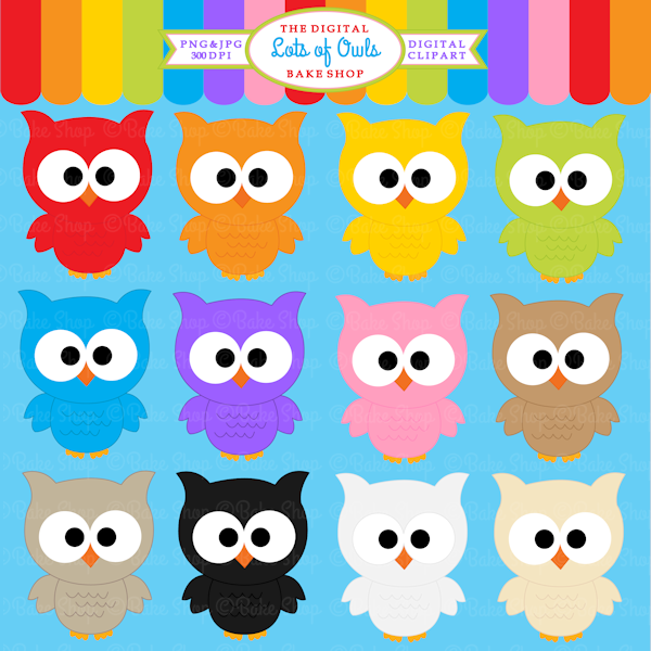 lots of owls clipart 12 colorful owl for educational use crafts rh pinterest com Retro Owl Clip Art Vintage Owl Clip Art
