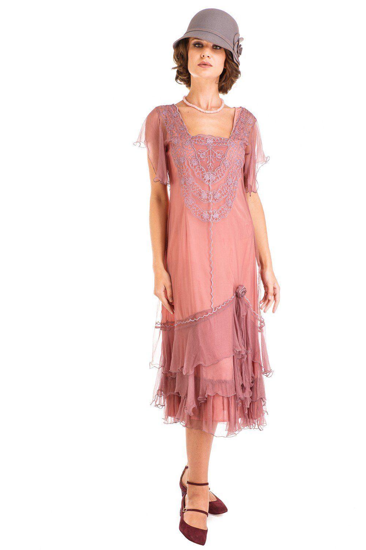Alexa 1920s Flapper Style Dress in Mauve by Nataya