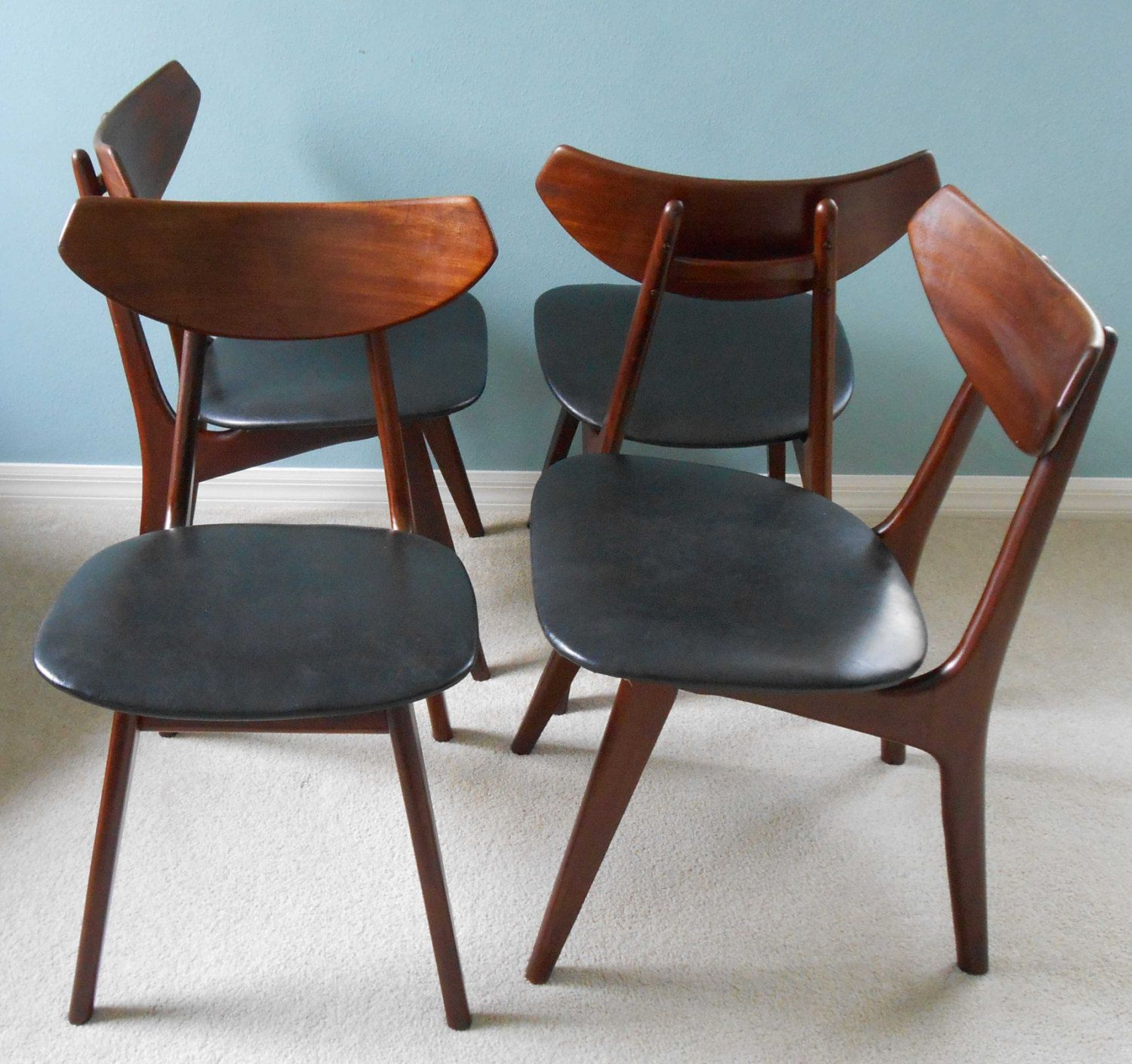 mid century danish modern sculptural dining chairs set of. Black Bedroom Furniture Sets. Home Design Ideas
