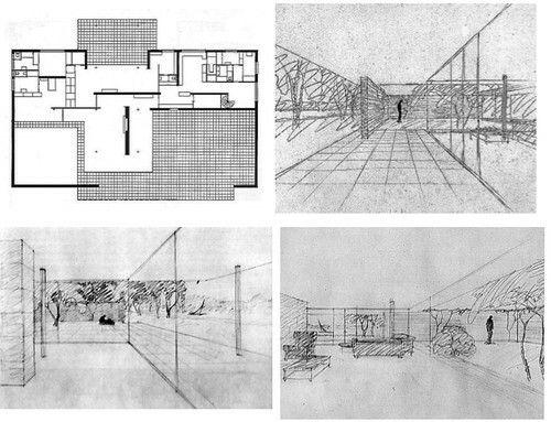 mies van der rohe hubbe house mies van der rohe grundriss und skizzen. Black Bedroom Furniture Sets. Home Design Ideas