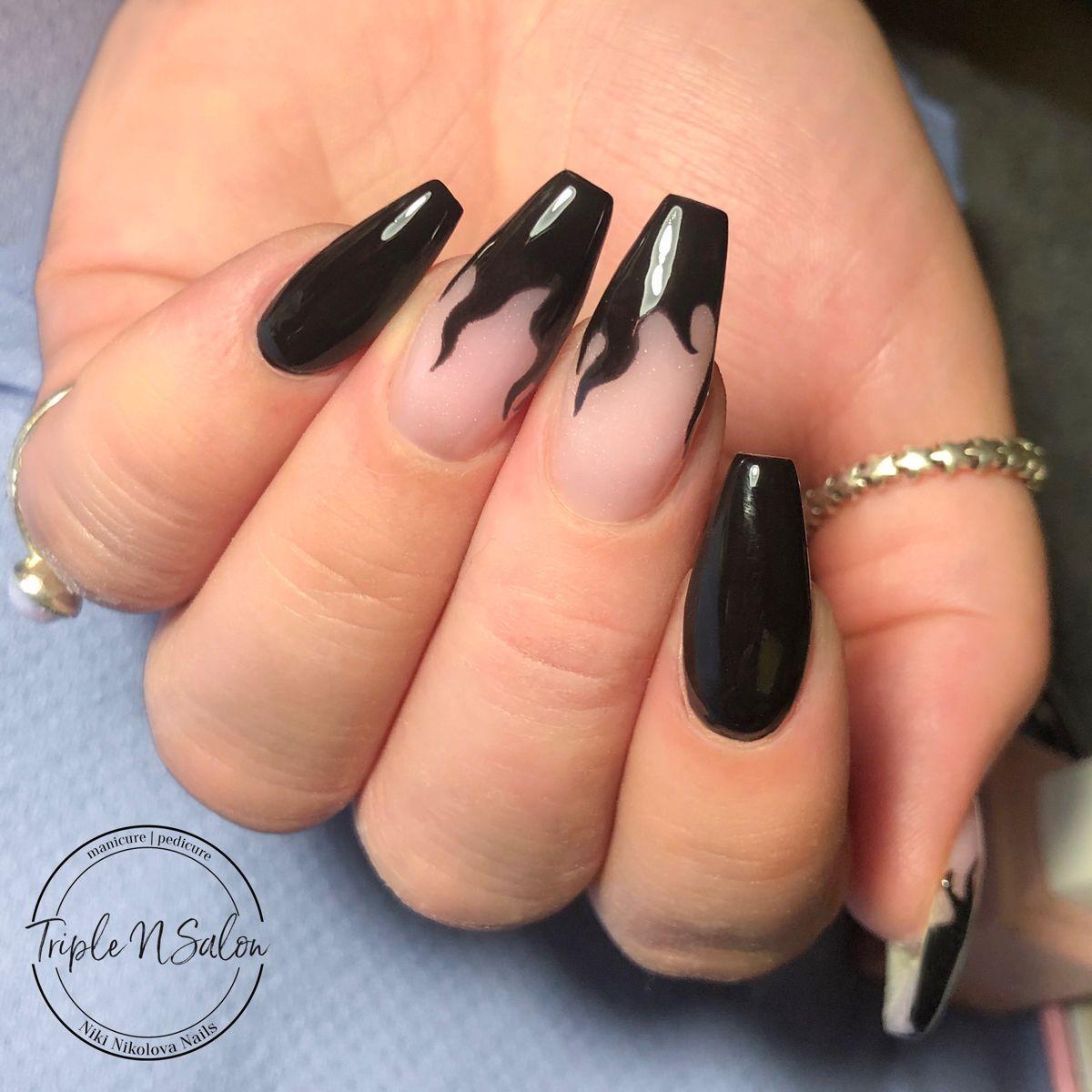 Black Flame Nails Black Acrylic Nail Designs Black Acrylic Nails Gold Acrylic Nails