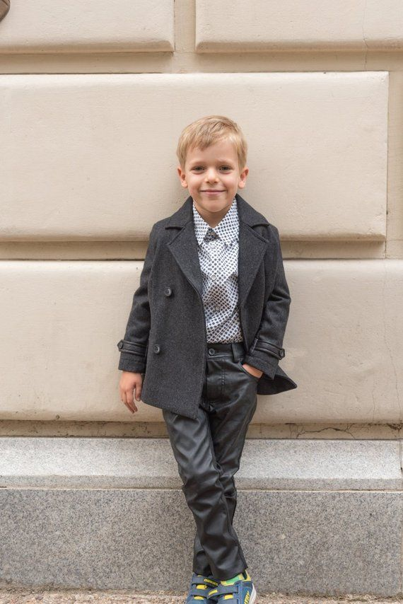 7a9dbbb74669 Boys double breasted short wool coat
