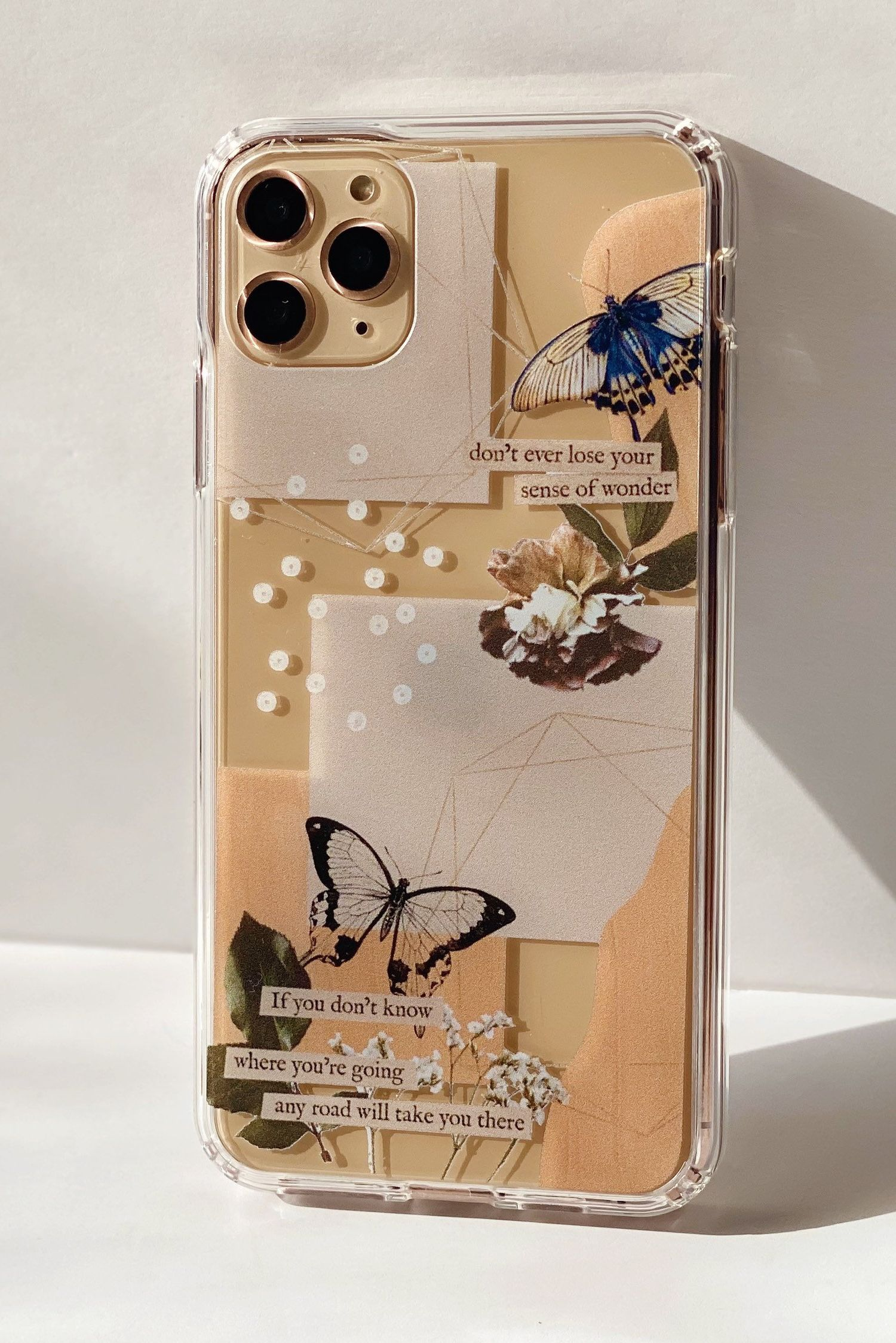 Aesthetic Abstract Butterfly Collage Clippings Clear Modern Etsy Collage Phone Case Vintage Phone Case Diy Phone Case