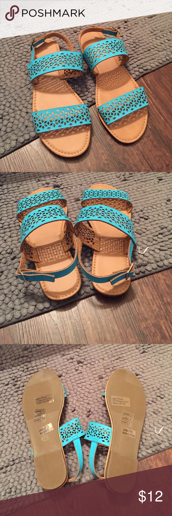 Brand new!- Turquoise/ teal sandals Brand new. Ever worn! Shoes Sandals