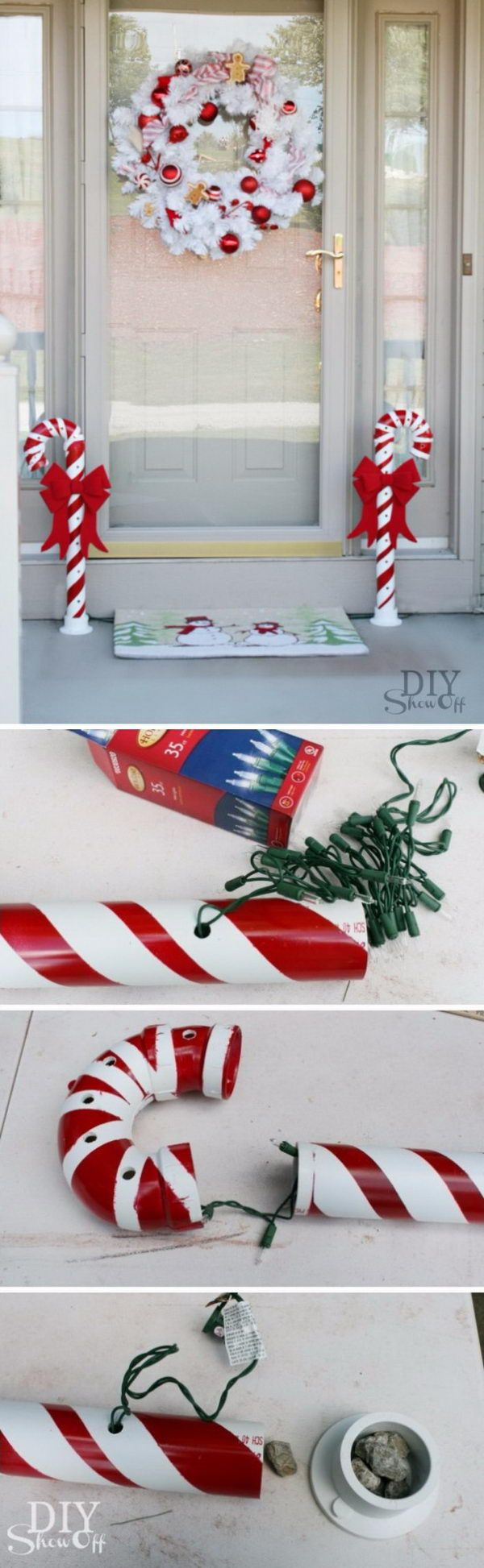 Candy Cane Outdoor Decorations 40 Festive Outdoor Christmas Decorations  Pvc Pipe Candy Canes