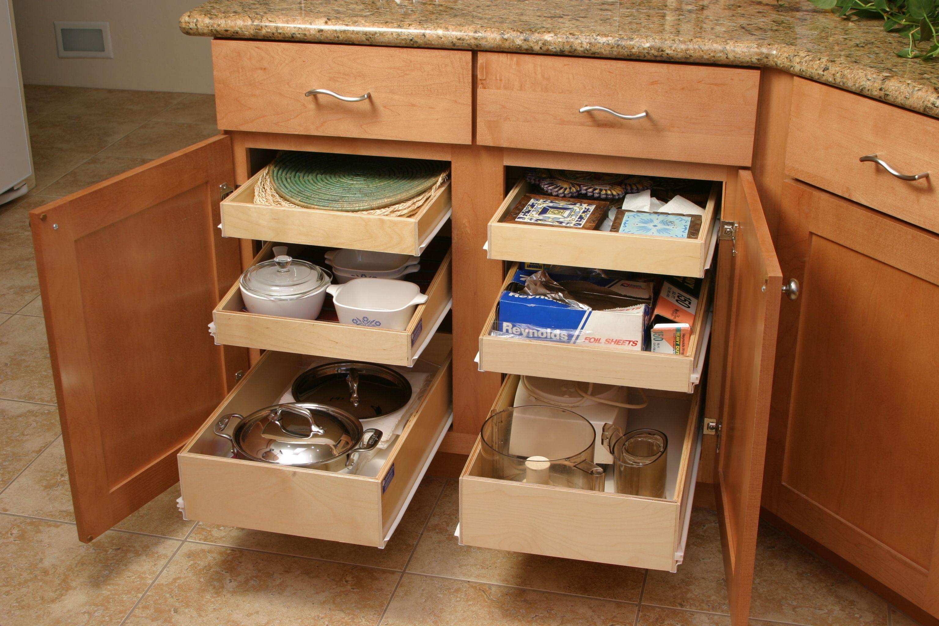 Beautiful Under Kitchen Cabinet Sliding Drawers