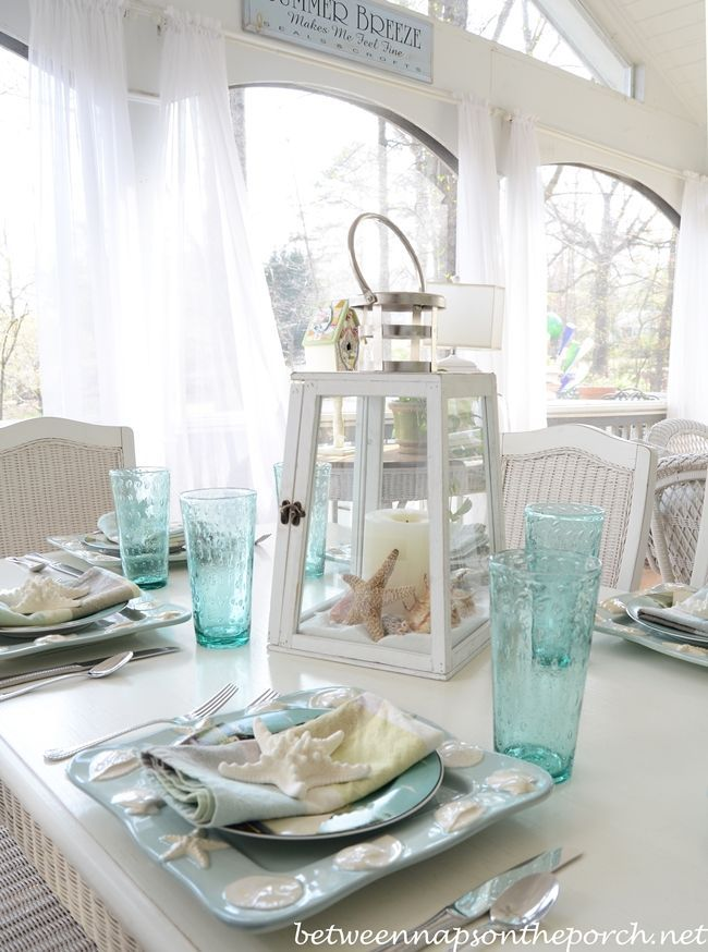 Beach Table Setting With Lighthouse Lantern Centerpiece | Lantern  Centerpieces, Lighthouse And Centerpieces