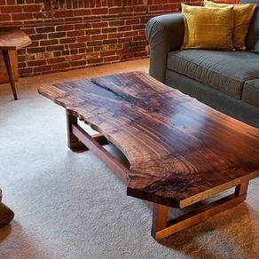 Live Edge Walnut Slab Coffee Table by Quentin Kelley