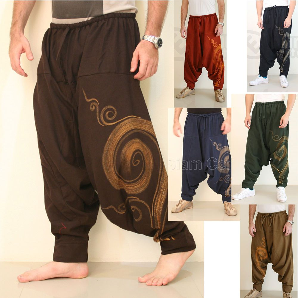 098bce92419 Mens Harem Drop Crotch Trousers Yoga Boho Baggy Gypsy Hippie Aladdin Pants…