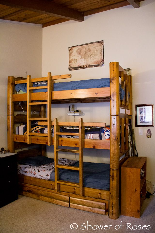 Shower of Roses: The Boys\' Bedroom and Triple Bunk Bed | CHILDREN ...