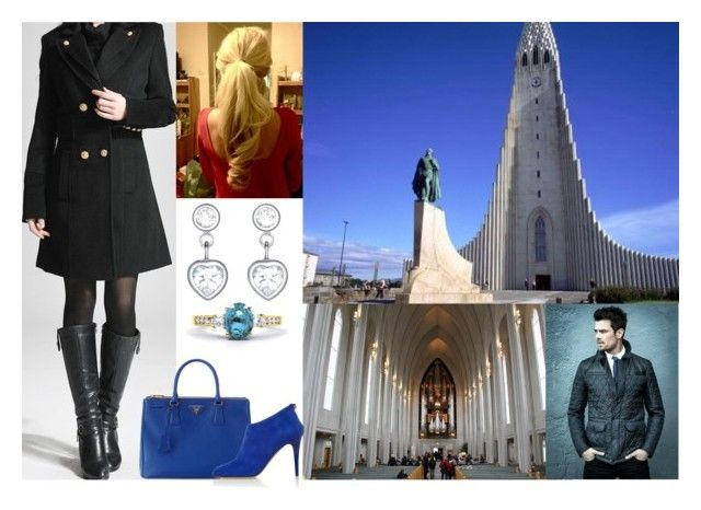 """""""Touring possible wedding locations with Felix and ultimately choosing to hold their religious wedding ceremony at Hallgrímskirkja"""" by dana-avots ❤ liked on Polyvore featuring Prada and Jimmy Choo"""