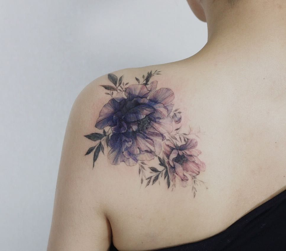 Cover up with peonyflower Shoulder cover up tattoos