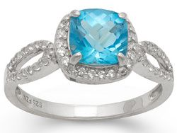 Swiss Blue Topaz And Synthetic White Sapphire Silver Ring