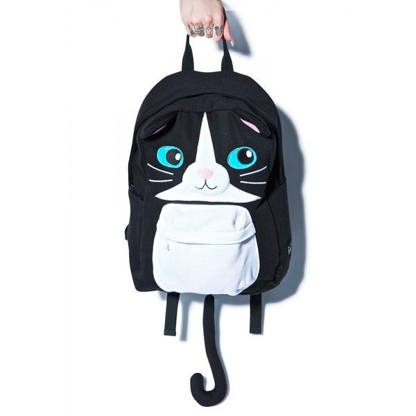 Sazac Cat Backpack ($21) ❤ liked on Polyvore featuring bags, backpacks, backpack, rucksack bag, knapsack bags, cat bag, tail bag and zip bags