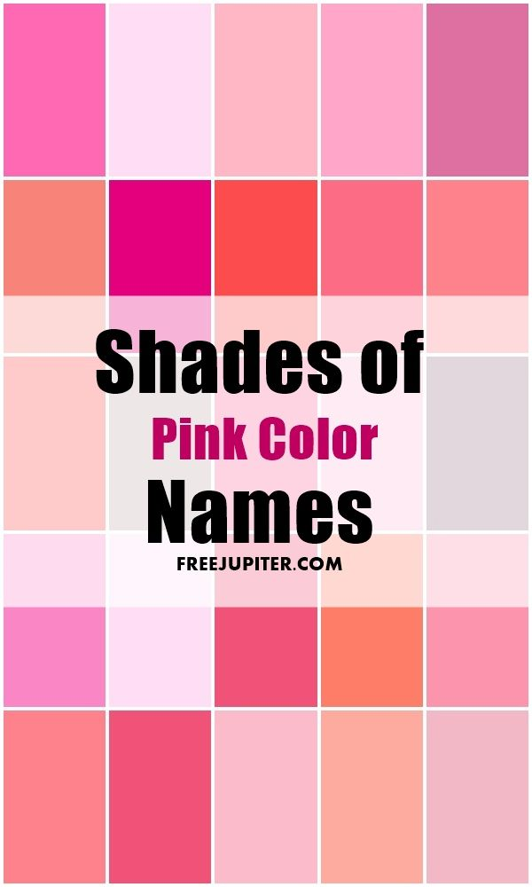 50 Shades Of Pink Color Names Shades Of Pink Names Color Palette Pink Pink Names