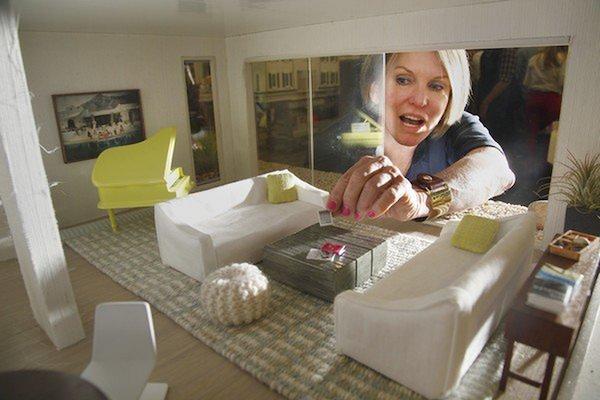 Happy Coliors | Knit Pouf | Designer | Interior Design | Miniature |  Dollhouse | Scale