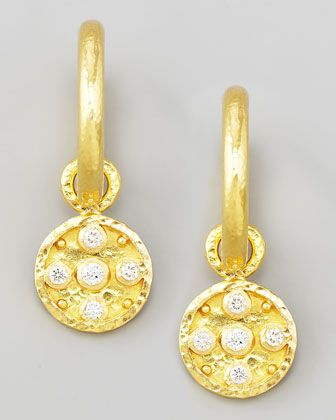 Elizabeth Locke 19k Gold Diamond Disc Earring Pendants hoQsLRC