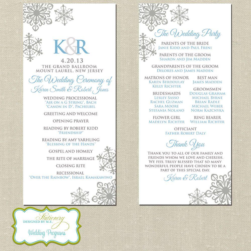 elegant snowflake wedding programs winter wedding programs