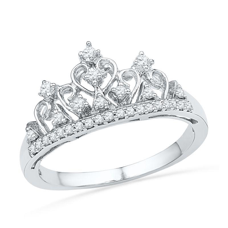 1//5 Ct Round Natural Diamond Tiara Ring 14k White Gold   Silver