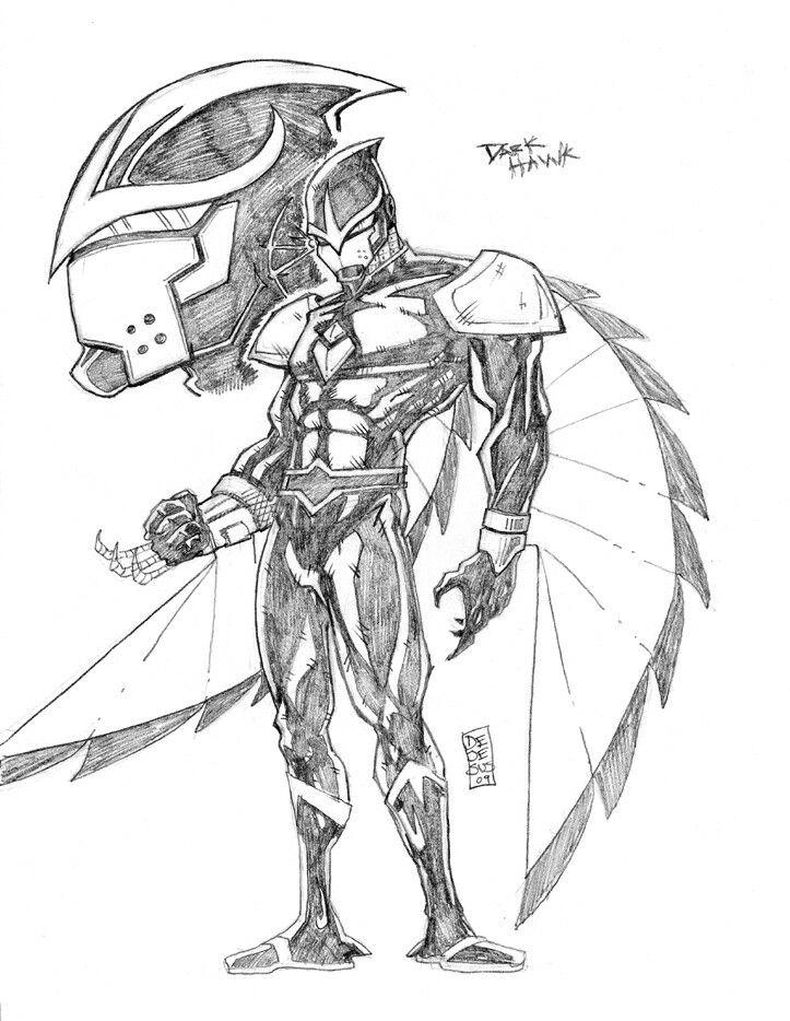 cool sketch of dark hawk