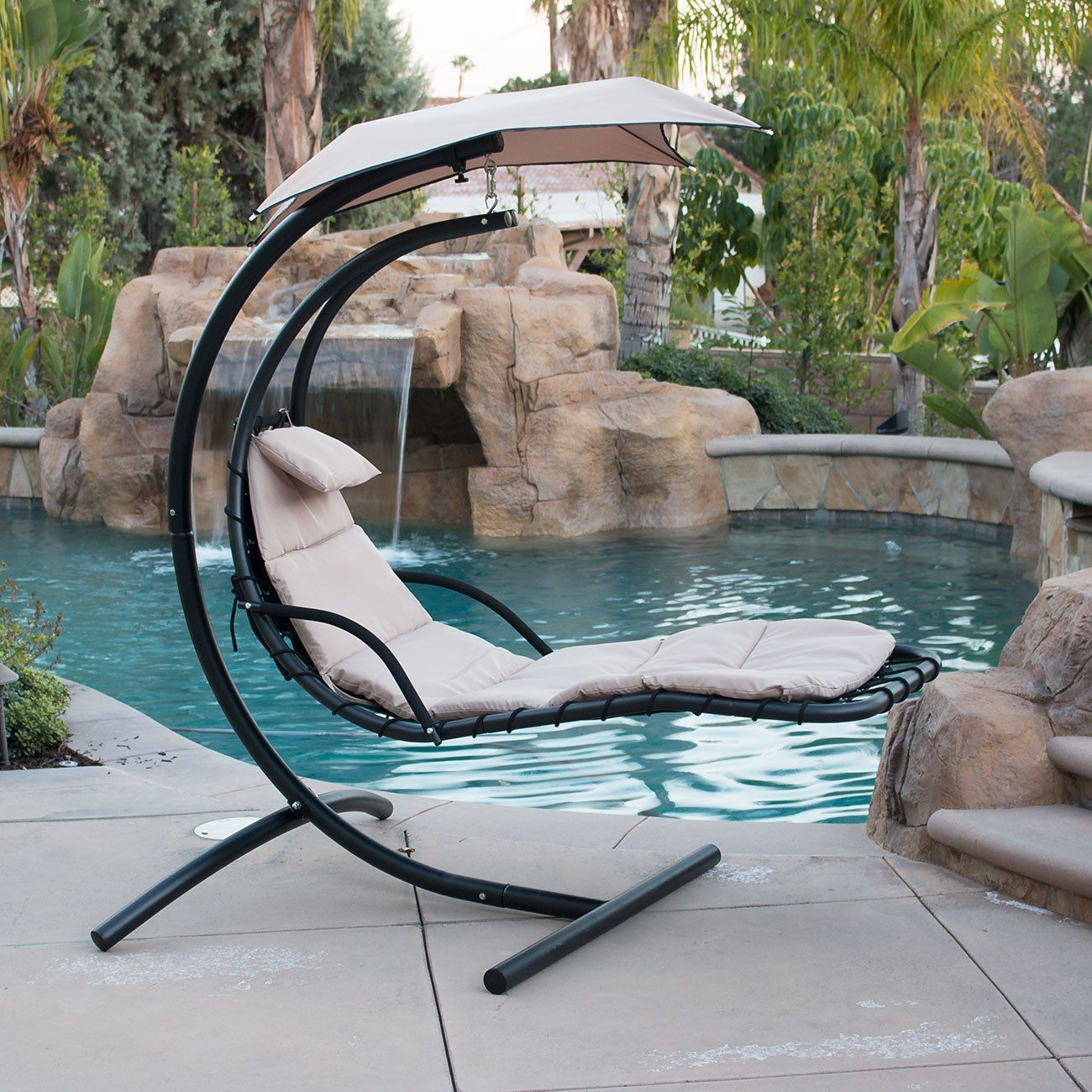 Hanging Helicopter dream Lounger Chair Arc Stand Swing Hammock Chair Canopy tan in Home u0026 Garden Yard Garden u0026 Outdoor Living Patio u0026 Garden Furniture ... & Amazon.com : BELLEZZA© Hanging Chaise Beige Lounger Chair Arc ...
