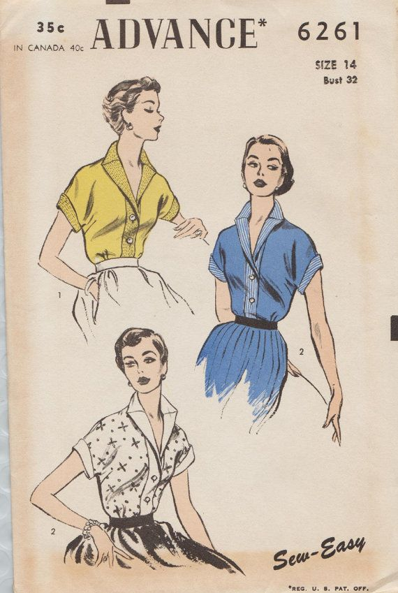Advance 6261 / Vintage 1950s Sewing Pattern / Blouse Shirt Top ...