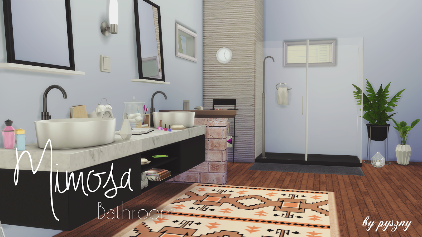 I finished my next set mimosa bathroom it 39 s very modern for Bathroom ideas sims 4