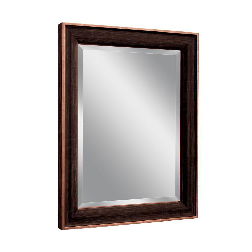 Deco Mirror 28 In W X 34 In H Framed Rectangular Beveled Edge Bathroom Vanity Mirror In Bronze Copper 8952 The Home Depot Rectangular Bathroom Mirror Bronze Bathroom Beveled Mirror Bathroom