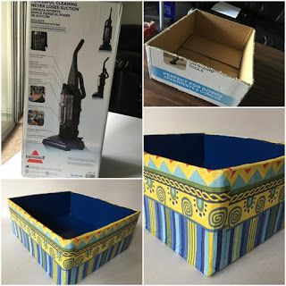 Brilliant way to reuse cardboard box, Decoupage on