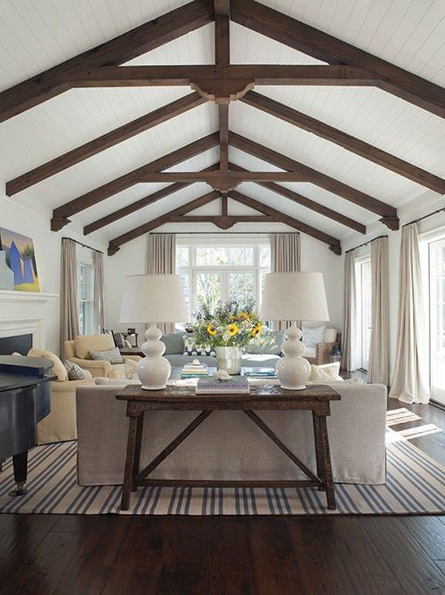 46 The Best Vaulted Ceiling Living Room Design Ideas - Trendehouse #vaultedceilingdecor