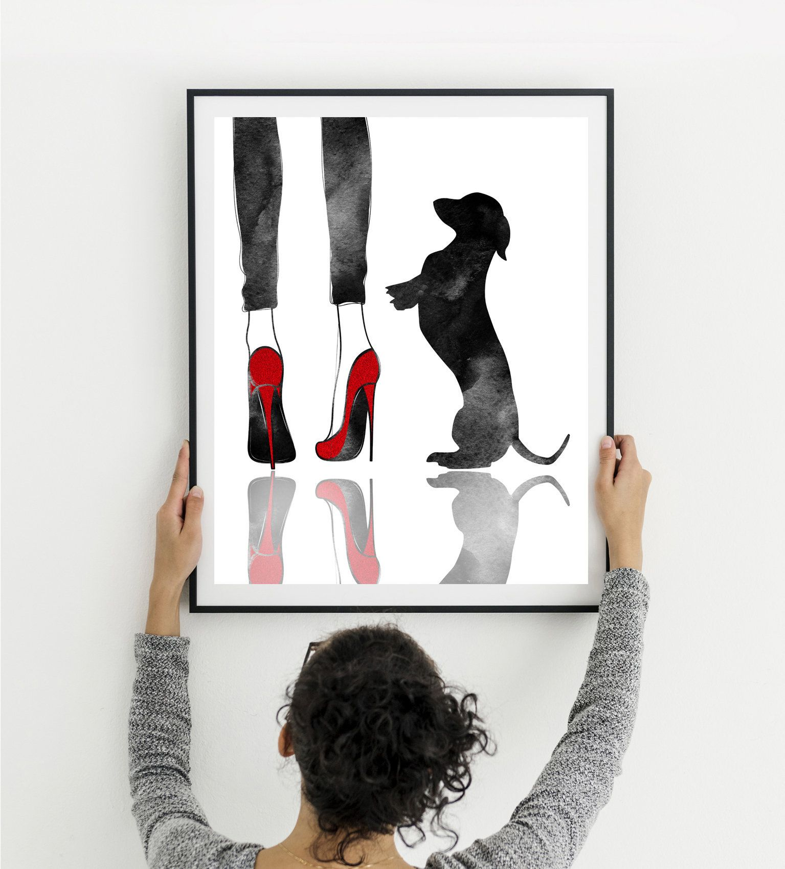 Dachshund Wall Art Woman And Dog Print High Heels Print Etsy In 2020 Dachshund Wall Art Fashion Art Prints Dog Wall Art
