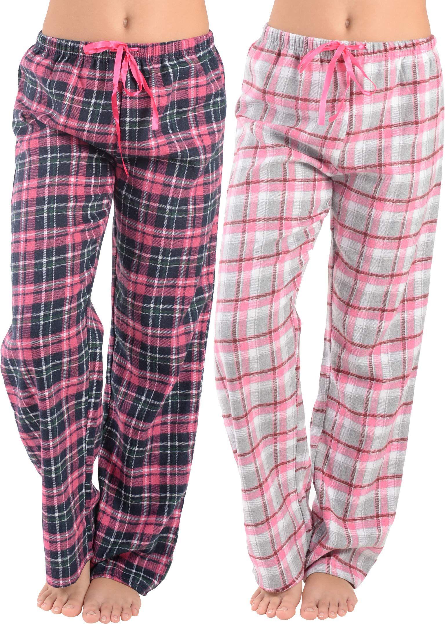 2 Pack Ladies Fleece Pyjamas Lounge Pants Womens Bottoms Trousers Pjs Nightwear
