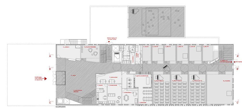 Musikschule In Belgien Grundriss Erdgeschoss 01 Jpg 1 000 459 Pixels Dilbeek Ground Floor Plan How To Plan