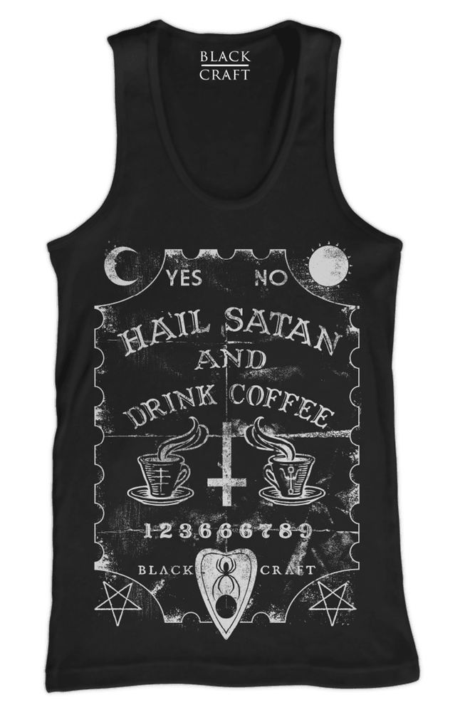 044f8d41304cdf Hail Satan And Drink Coffee - Tank Top – Blackcraft Cult